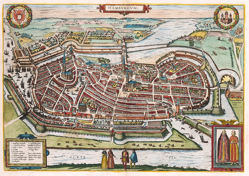 Hamburg by Georg Braun and Franz Hogenberg (1588)